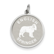 Sterling Silver English Springer Disc Charm, Best Quality Free Gift Box Satisfaction Guaranteed