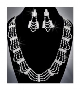 Crystal Rhinestone Necklace Chain and Earring Set, Crystal/Silver NEC-2014