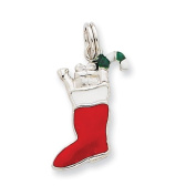 Sterling Silver Enamel Stocking Charm