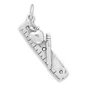 Ruler with Apple Sterling Silver Charm - Made in the USA