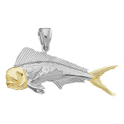 925 Solid Sterling Silver Nautical Necklace Charm Pendant, 14K Gold Accent Male