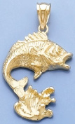 Gold Nautical Charm Pendant Bass Fish & Water 2-D