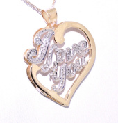 14K Yellow/White Gold I Love You Pendant