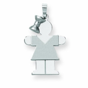 Genuine 14K White Gold Medium Girl With Bow On Left Engravable Charm 2.3 Grammes Of Gold 100% Satisfaction Guaranteed.
