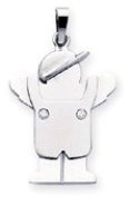 Boy with Cap and Overalls Charm, White Gold