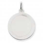 Genuine 14K White Gold Etched Design .027 Gauge Round Engravable Charm 2.7 Grammes Of Gold  .  d.