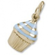 Rembrandt Blue Cupcake Charm, 10K Yellow Gold