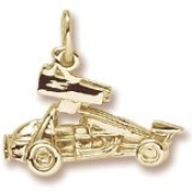 Rembrandt Charms Sprint Car with Wings Charm, 10K Yellow Gold
