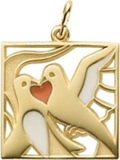 Rembrandt Charms Two Turtle Doves Charm, 10K Yellow Gold