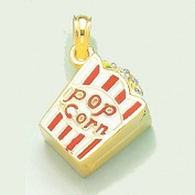 14k Gold Necklace Charm Pendant, 3d Bag Of Popcorn With Red And White Striped En