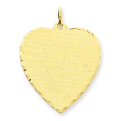 Genuine 14K Yellow Gold Patterned .027 Gauge Engravable Heart Disc Charm 3.4 Grammes Of Gold 100% Satisfaction Guaranteed.