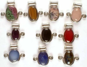 Lot of Ten Gemstone Pendants with Spirals - Sterling Silver