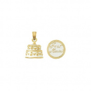 14k Gold Novelty Necklace Charm Pendant, 3d Just Married Cake With White Frostin
