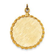 Genuine 14K Yellow Gold Patterned .013 Gauge Circular Engravable Disc With Rope Charm 5.1 Grammes Of Gold 100% Satisfaction Guaranteed.