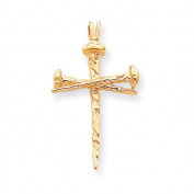 14 Karat Yellow Gold, Nail Cross Pendant