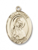 14kt Gold St. Monica Medal, Patron Saint of (Patronage of) abuse victims, alcoholics, alcoholism, difficult marriages, disappointing children, homemakers, housewives, married women, mothers, victims of adultery, victims of unfaithfulness, victims of ve ..