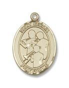 14kt Gold St. Cecilia / Marching Band Medal, Patron Saint of Music, Musicians & Singers