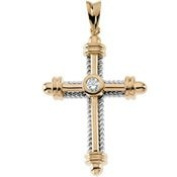 14K Yellow Gold .29 Ct Tw Diamond Cross
