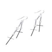 BestDealUSA Charming 925 Silver Double CROSS Dangle Earring Eardrop