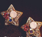 Sweet Star Shaped Stud Earring with Colourful Simulated Diamond