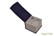 Regal Pak ® Linen Texture Paper Ring Box (Blue Colour) 5.1cm X 5.1cm X 3.8cm H