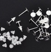 25 pairs, 3 mm Earring Posts with Silicon Backs - DIY Earrings