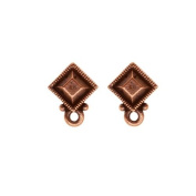 Copper Plated Pewter Stud Post Earrings Faceted Diamond
