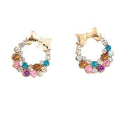 Chic Fashion Golden Nail Full Colourful Rhinestone Bowknot Hoop Stud Earrings