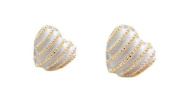 HotEnergy lovely cute vintage great gift peach heart stripe stud earrings
