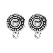 Silver Plated Pewter Stud Post Earrings Beaded Round 11mm