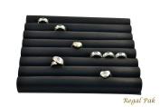 Regal Pak ® Black Leatherette Ring Slot Half Size Foam Pad With 8 Sections 20cm X 17cm