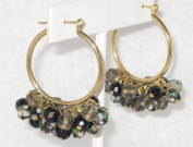 2.5cm Dia. Hook Earring with Black Glass Beads, Facted Beads and Cloisonne Beads