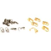 White & Gold Plated Clip On Earring Backs Findings Kit 18 Pcs
