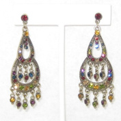 6.4cm Long Multi Colour Rhinestone Chandeliers Earring
