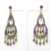 6.4cm Long Multi Colour Rhinestone Chandeliers Earring