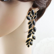 Chris's Home New Coming Elegant Hot Selling Alloy Black Enamel Vivid Leaf Shape Fashion Rhinestone Dangle Earrings Jewellery