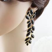 Chris's Home New Coming Elegant Hot Selling Alloy Black Enamel Vivid Leaf Shape Fashion Rhinestone Dangle Earrings Jewellery