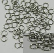 100 Split Ring Stainless Steel, 6mm Round Spring Steel Thin Lightweight 22 Gauge