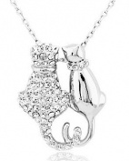 18k White/gold Plated Cute Cat Austrian Crystal Necklace Pendant Double Cat Necklace-white