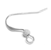 10 pcs .925 Sterling Silver French Hook Earwires Stardust Ball Earring Connector / Finding / Bright