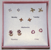 Set of 5 Monday to Friday Sparkling Rhinestone Earrings