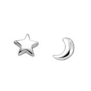 925 Pure Silver Cute Star Moon Earrings+Bow Diamond Home Button Sticker