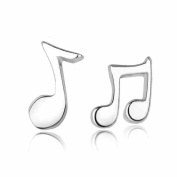 925 Pure Silver Cute Music Note Girls Simple Earrings+Home Button Sticker