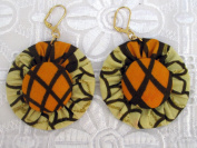 African Print Earrings - Jewellery Designer Made Of Ankara Fabric Patterns - Super Wax Material Clothing - Compliments Your African Print Fashion, Dresses, Attire, Skirts, Shoes, Bags, Tops, Bow Tie - For Teens And Women. Olive. Satisfaction Guaranteed