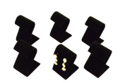 Regal Pak ® Six-Piece Black Velvet Curved Earring Stand 5.1cm X 5.4cm X 8.3cm H