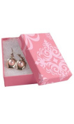 Earrings Pendant Necklace Lot of 10 Sm/m Gift Boxes Pink Damask Jewellery Box with Cotton 3-1/16 X 2-1/8 X 1