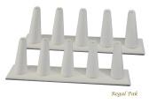 Regal Pak Two Piece White Leatherette 5 Finger Ring Stand 20cm X 5.4cm X 6.4cm H