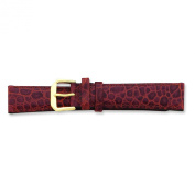 de Beer Brown Alligator Grain Leather Watch Band 6mm