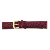 de Beer Brown Alligator Grain Leather Watch Band 6mm