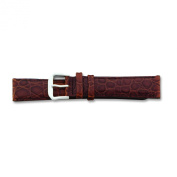 de Beer Brown Alligator Grain Leather Watch Band 19mm